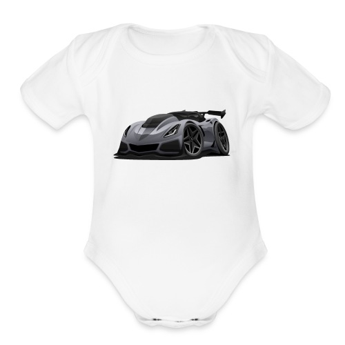 Modern American Sports Car Cartoon - Organic Short Sleeve Baby Bodysuit