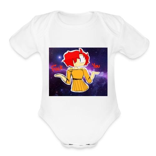 Fuck you galaxy girl - Organic Short Sleeve Baby Bodysuit