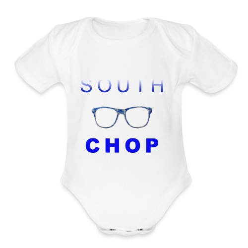 Glasses logo with text - Organic Short Sleeve Baby Bodysuit