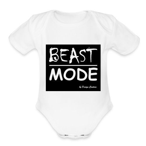 MODE, BEAST-WHITE - Organic Short Sleeve Baby Bodysuit