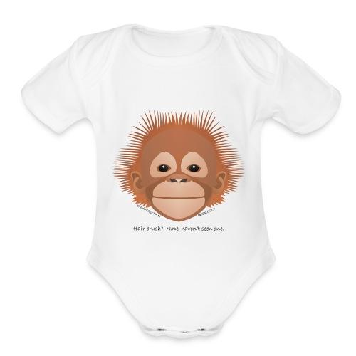 baby orangutan face - Organic Short Sleeve Baby Bodysuit