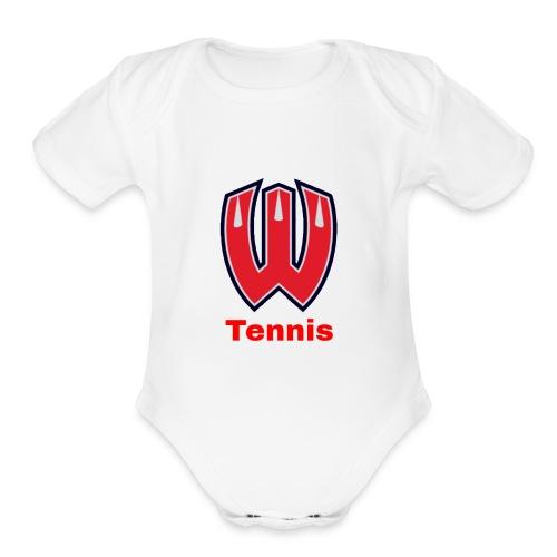 Westview High School Tennis (Red Lettering) - Organic Short Sleeve Baby Bodysuit
