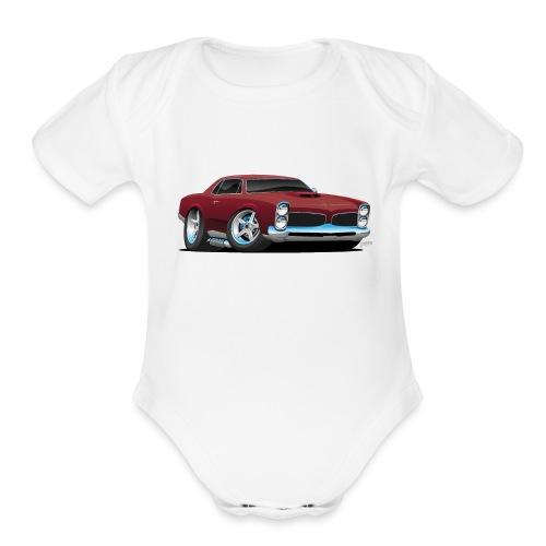 Classic American Muscle Car Cartoon - Organic Short Sleeve Baby Bodysuit