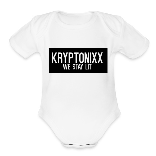 KryptLogoPng - Organic Short Sleeve Baby Bodysuit