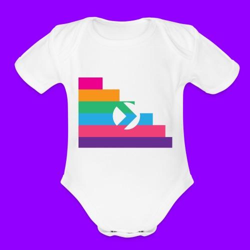 Yibizen Lined Logo Design - Organic Short Sleeve Baby Bodysuit