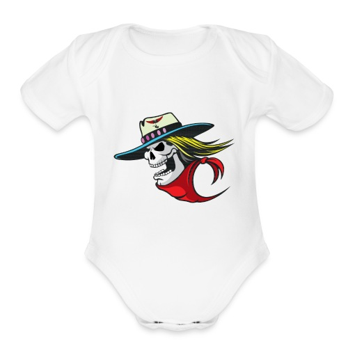 Skull Winged Rose - Organic Short Sleeve Baby Bodysuit