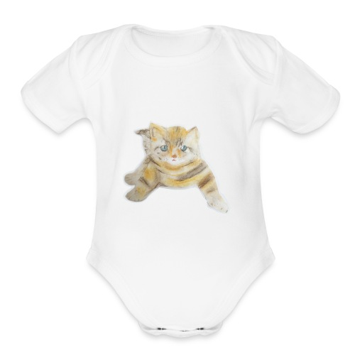 sad boy - Organic Short Sleeve Baby Bodysuit