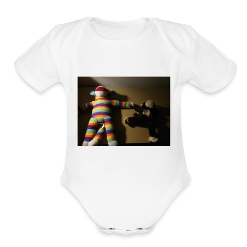 Monkey love - Organic Short Sleeve Baby Bodysuit