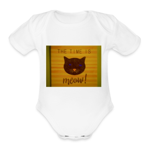 The time is meow - Organic Short Sleeve Baby Bodysuit