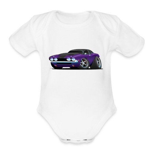 Classic Muscle Car Cartoon - Organic Short Sleeve Baby Bodysuit