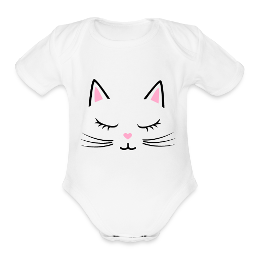 Cute Cat with Eyelashes - Organic Short Sleeve Baby Bodysuit