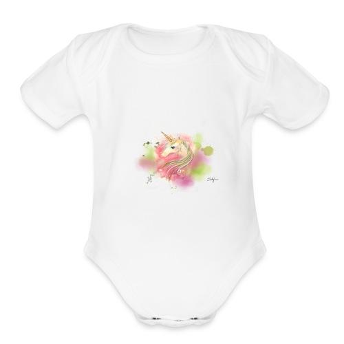 Rainbow Unicorn - Organic Short Sleeve Baby Bodysuit
