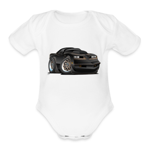 Seventies Classic Muscle Car Cartoon - Organic Short Sleeve Baby Bodysuit