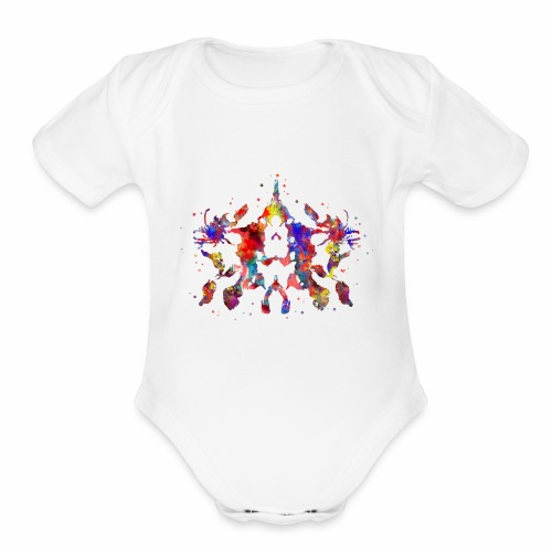Rorschach, Rorschach inkblot test, card 10 - Organic Short Sleeve Baby Bodysuit