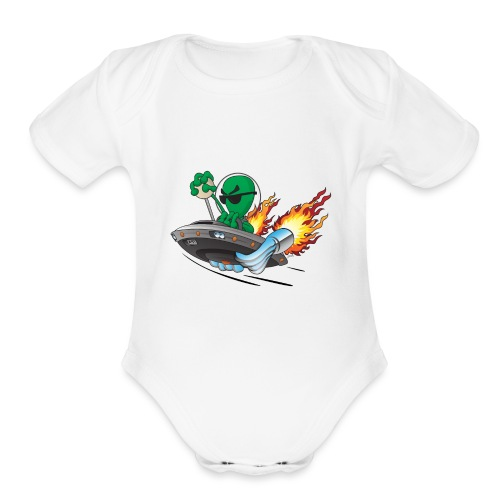 UFO Alien Hot Rod Cartoon Illustration - Organic Short Sleeve Baby Bodysuit