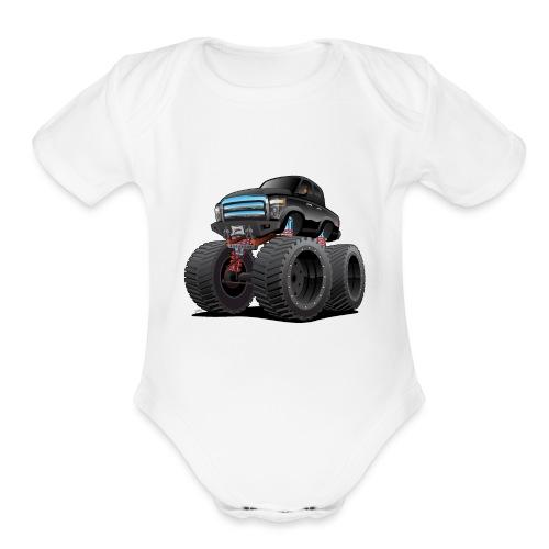 Monster Pickup Truck Cartoon - Organic Short Sleeve Baby Bodysuit