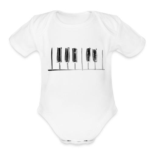 Hand Drawn Minimal Piano Design   Piano Keys - Organic Short Sleeve Baby Bodysuit