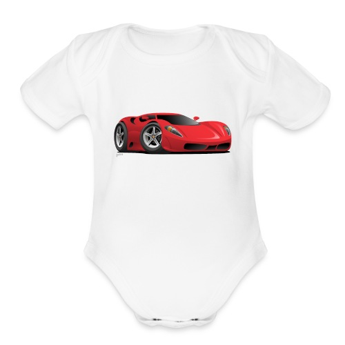 Red Hot European Style Sports-Car Cartoon - Organic Short Sleeve Baby Bodysuit