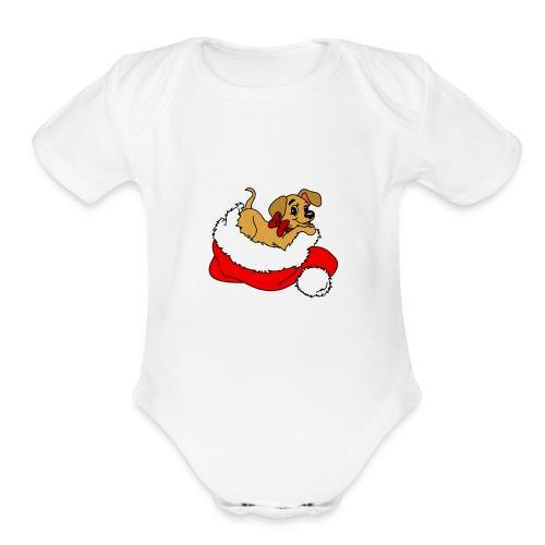 dog_xmas_color - Organic Short Sleeve Baby Bodysuit