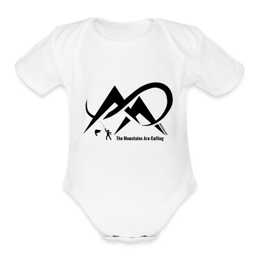 Fishing - The Mountains Are Calling - Black Logo - Organic Short Sleeve Baby Bodysuit