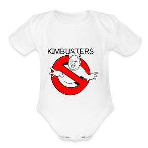Kimbusters (with text) - Short Sleeve Baby Bodysuit