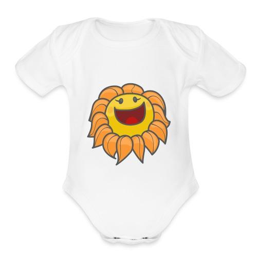 Happy sunflower - Organic Short Sleeve Baby Bodysuit