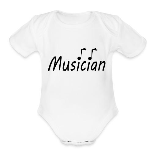 musician black - Organic Short Sleeve Baby Bodysuit