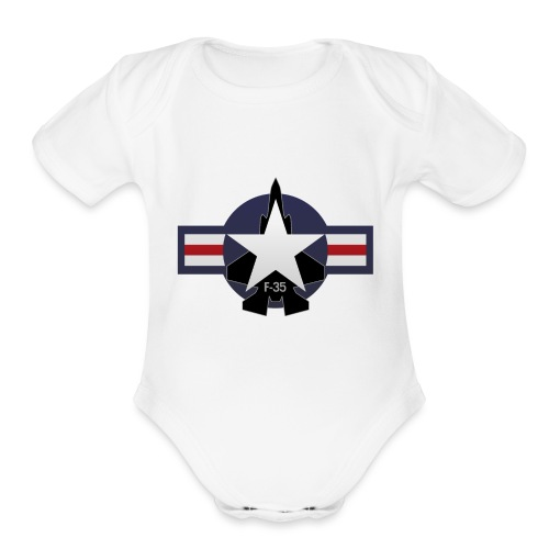 F-35 Lightning II Military Jet Fighter Aircraft - Organic Short Sleeve Baby Bodysuit