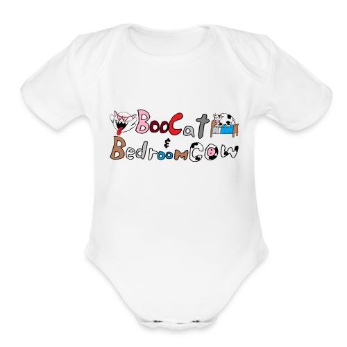 Boo Cat And Bedroom Cow - Organic Short Sleeve Baby Bodysuit