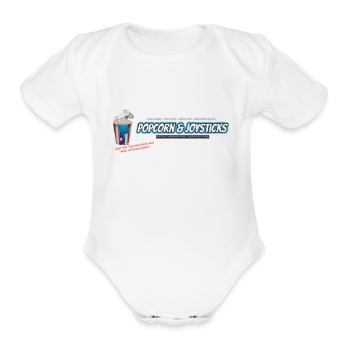Popcorn and Joysticks Banner - Organic Short Sleeve Baby Bodysuit