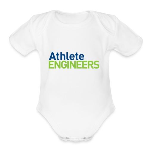 Athlete Engineers - Stacked Text - Organic Short Sleeve Baby Bodysuit