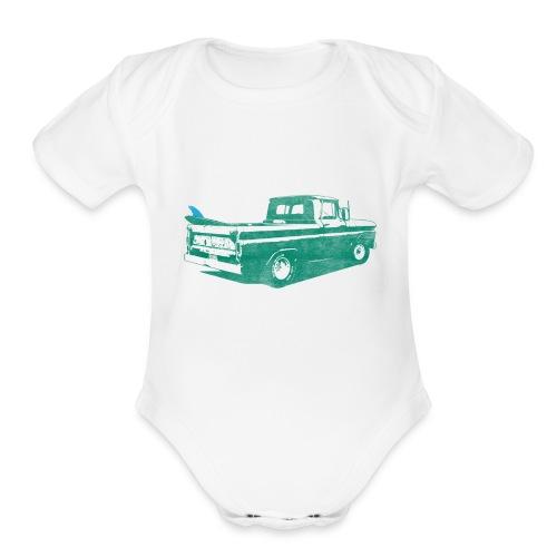 Vintage Surf Truck2 - Organic Short Sleeve Baby Bodysuit