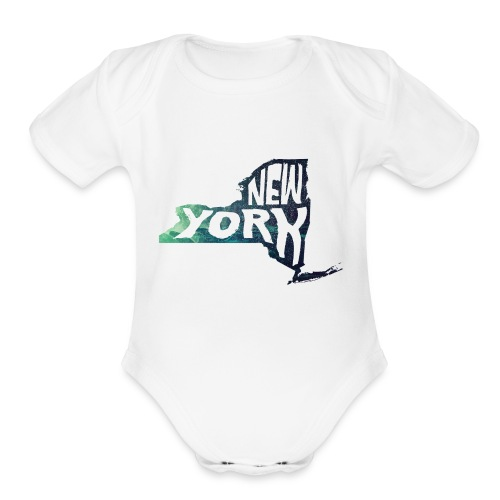 A New York State of Outline - Organic Short Sleeve Baby Bodysuit