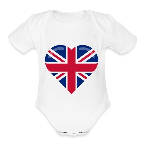 brit heart - Organic Short Sleeve Baby Bodysuit