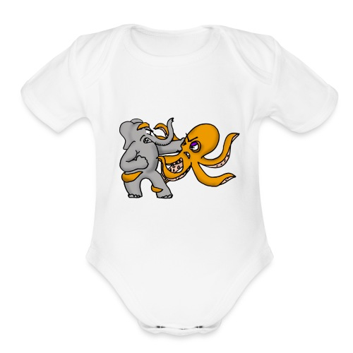 Elephant vs. Octopus Mug - Organic Short Sleeve Baby Bodysuit