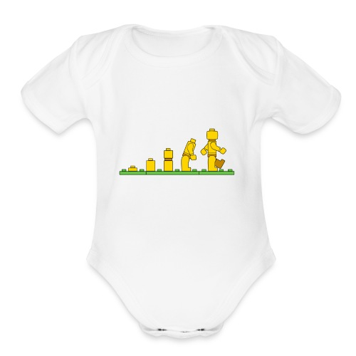 Lego Man Evolution - Organic Short Sleeve Baby Bodysuit