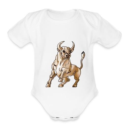 bull icon - Organic Short Sleeve Baby Bodysuit