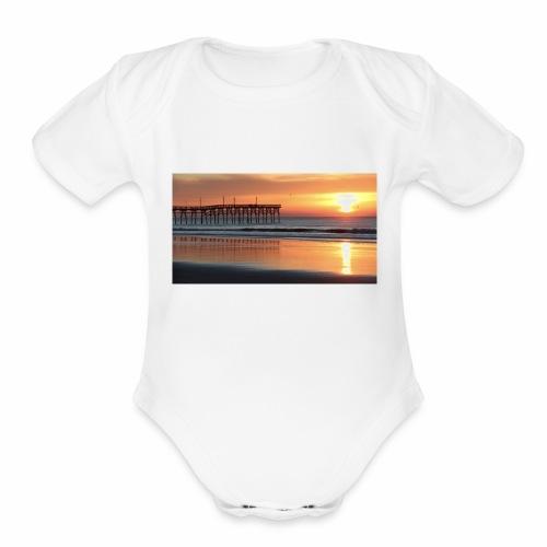 fall sunset on the beach - Organic Short Sleeve Baby Bodysuit