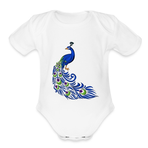 peacock - Organic Short Sleeve Baby Bodysuit