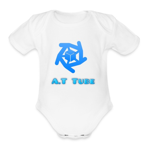 A.T Tube (White) - Organic Short Sleeve Baby Bodysuit