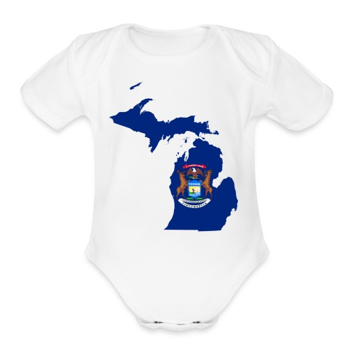 Michigan Flag Map - Organic Short Sleeve Baby Bodysuit