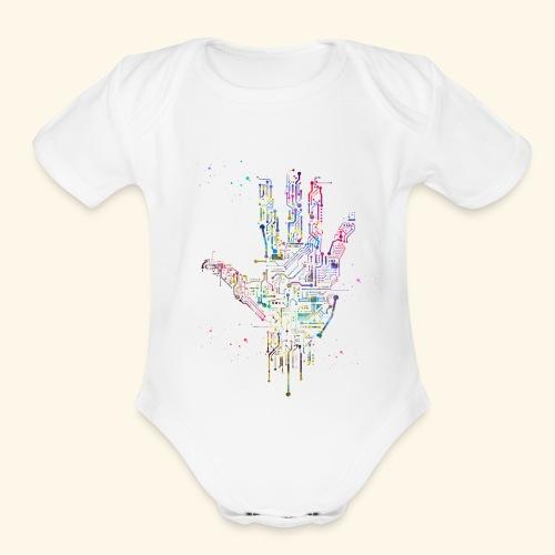 Circuit Hand - Organic Short Sleeve Baby Bodysuit
