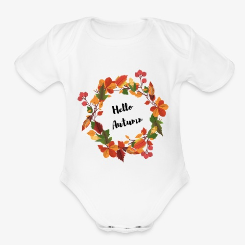 Hello Autumn - Organic Short Sleeve Baby Bodysuit
