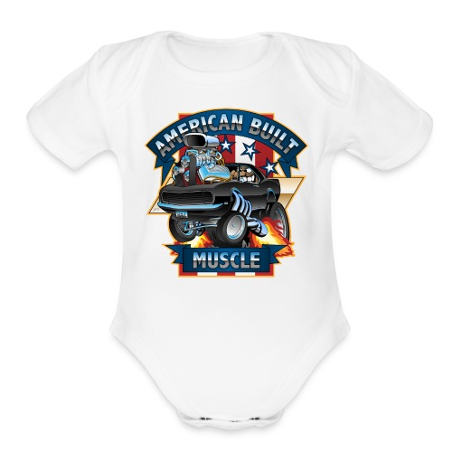 American Built Muscle - Classic Muscle Car Cartoon - Organic Short Sleeve Baby Bodysuit