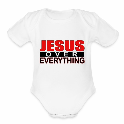 jesus over everything logo6 - Organic Short Sleeve Baby Bodysuit
