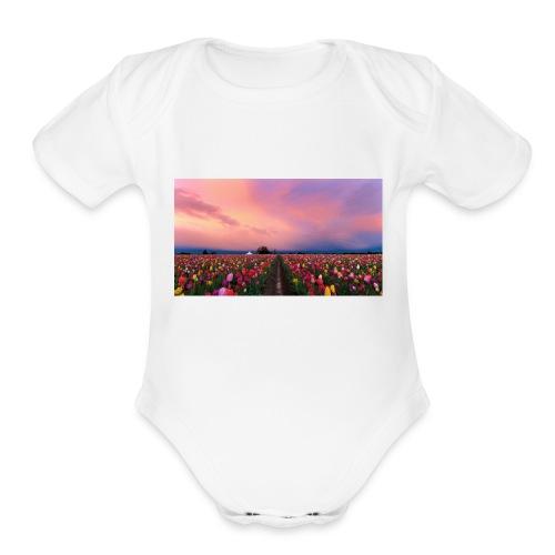 flowers - Organic Short Sleeve Baby Bodysuit