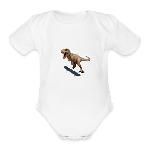T-Rex Kickflip - Organic Short Sleeve Baby Bodysuit