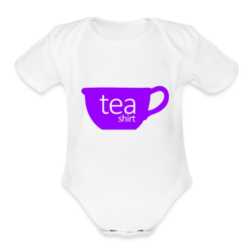 Tea Shirt Simple But Purple - Organic Short Sleeve Baby Bodysuit