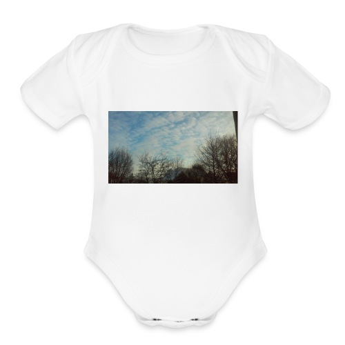 jersery winter sky - Organic Short Sleeve Baby Bodysuit