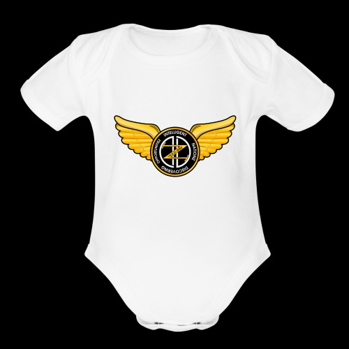 Winged Out Black/Yellow - Organic Short Sleeve Baby Bodysuit